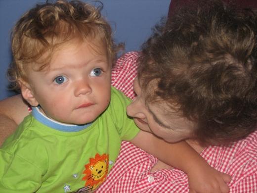Edgar, 12 months, with Aunt Rita